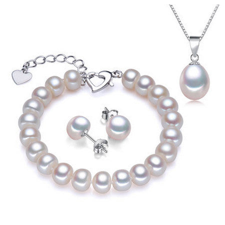 HOT Selling 18k white gold plated pearl jewelry sets for women high quality 8-9mm genuine pearl jewelry