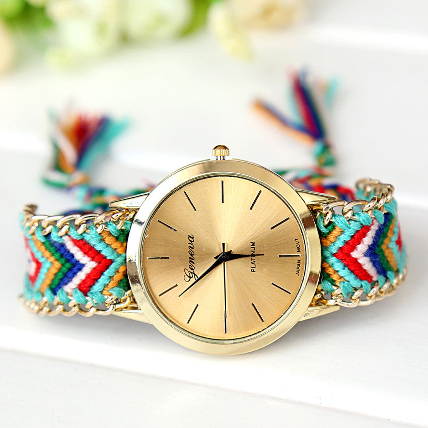 Handmade Braided Friendship Bracelet Watch New arrival geneva Hand-Woven wristwatch Ladies Quarzt gold Watch women dress watches