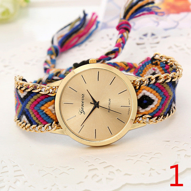 twelve braided rope quarzt watch geneva product friendship women handmade feather feminino relogio brand watches famouus