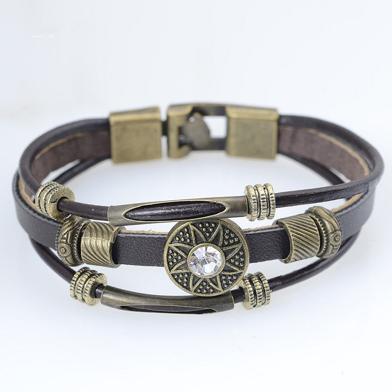 Handmade Men Jewelry Handmade Vintage PU Leather Bracelets & Bangles Pulseira Masculina Flower Bead Charm Bracelet for Men Male