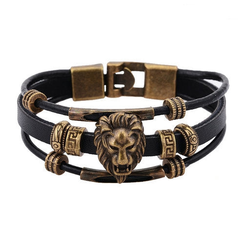 Handmade Men's Vintage Brass Hologram Bracelet for Men Wristband Punk Jewelry Tiger Head Bead Charm Leather bracelets & Bangles