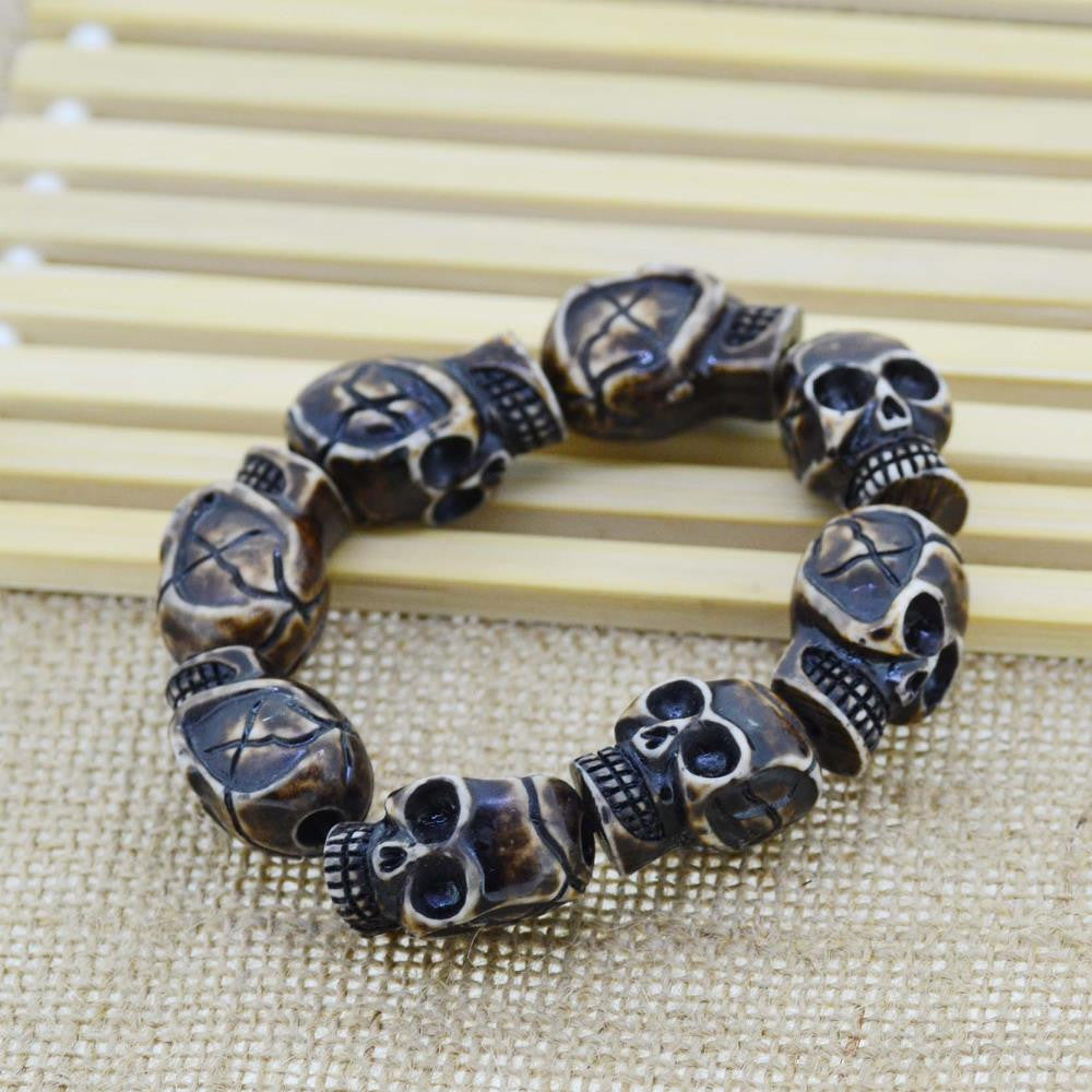 "Handmade Punk Skull Beaded Charm Bracelet Coffee Color Yak Bone Bangel 8.5"" Adjustable"