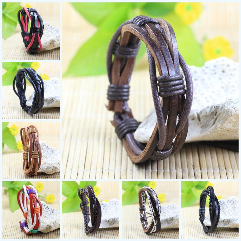 Handmade wrap genuine real leather bracelet men & friendship bangles for women bileklik Pulseira De Couro Masculina femme