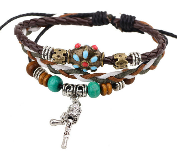 Handmade Colorful Bohemia beads Leather Adjustable Bracelet Wristband Jewelry Bijouterie Unisex Girls Woman