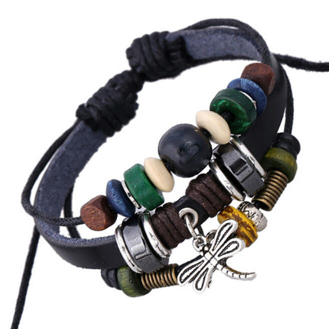 Handmade Dargonfly Insect Charm Leather Adjustable Bracelet Wristband Jewelry Bijouterie Unisex Girls Woman