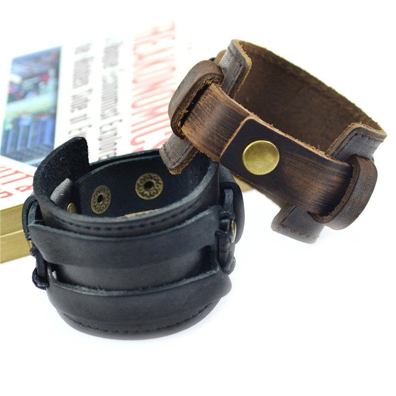 Handmade Genuine Leather Bracelets Fashion Black Brown Punk Wide Cuff Bracelets & bangle for Women Men Jewelry Accessory