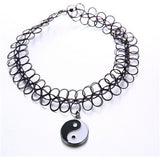 Handmade Hot Selling Vintage Stretch Tattoo Choker Necklace Gothic Punk Grunge Henna Elastic with Choker Pendant Necklaces