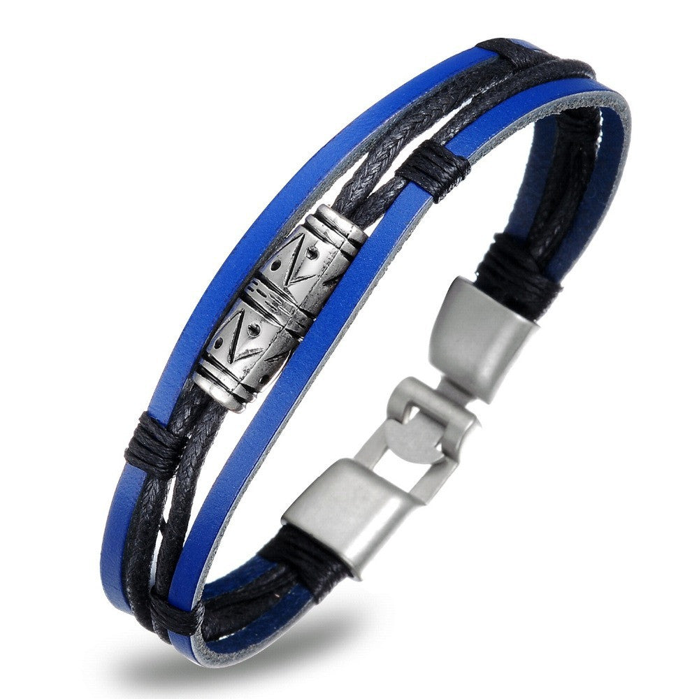 Handmade Multilayer Man Bracelets Fashion New 2016 Blue Leather Braided Vintage Jewelry For Men Anchor Clasp Accessories