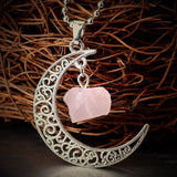 Handmade Natural Amethyst Rose Quartz Antique Bronze Galaxy Moon Pendant Necklace Healing Stone Christmas Gift Jewelry
