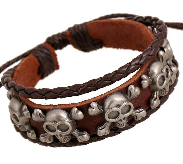 Handmade Rock Pirate Skull Charm Leather Adjustable Bracelet Wristband Jewelry Bijouterie Unisex Girls Woman