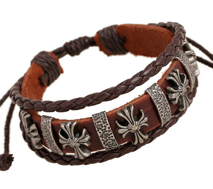 Handmade Vintage Cross Charm Leather Adjustable Bracelet Wristband Jewelry Bijouterie Unisex Girls Woman