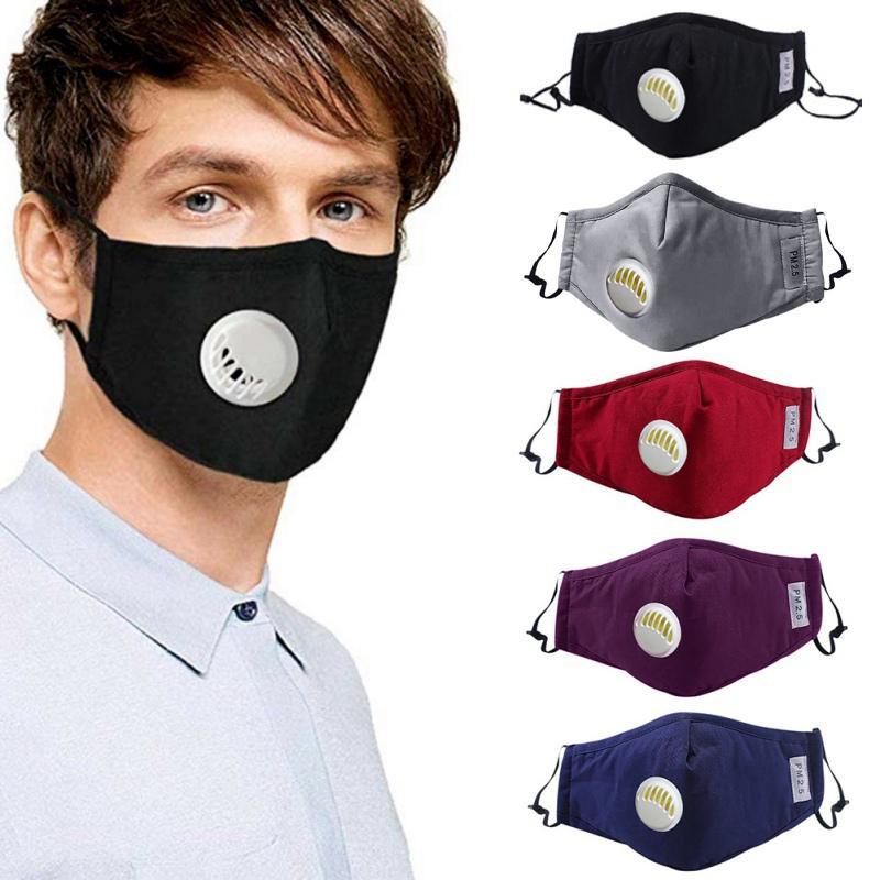 Reusable Dust-proof Masks Anti-Dust Breath Valve Facial Protective Cover Ear-loop Face Mask Activated Carbon Filters PM2.5 Masks
