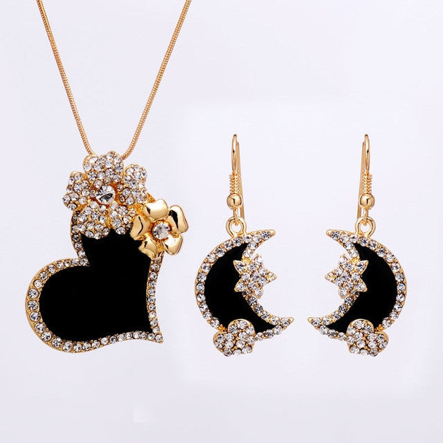 Heart Women Jewelry Set Flower Gold Plated Austrian Crystal Jewelry Sets Necklace Star Earrings
