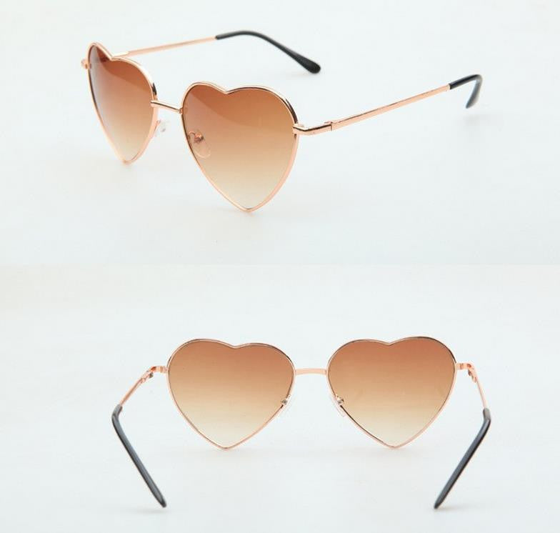 Heart Shaped Sunglasses Women metal Reflective Lense Fashion sun Glasses Men Sports mirror