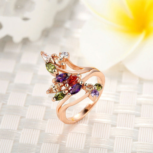 High Quality 18K Gold Plated Finger Ring For Women Party With AAA
