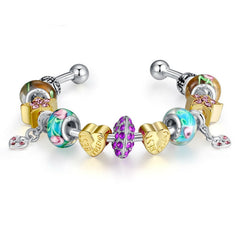 High Quality Bangle for Women With Murano Glass Beads Best Friend Charm DIY Jewelry Gift