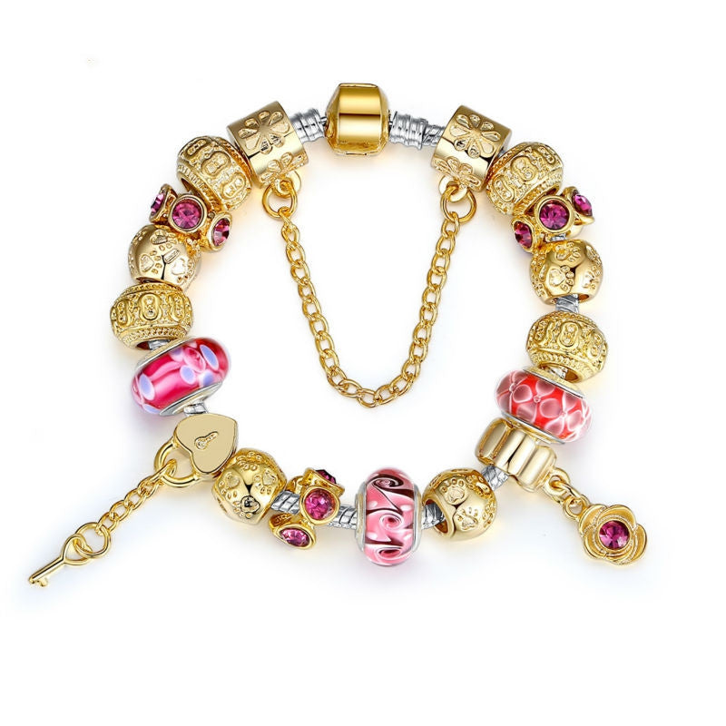High Quality Gold Charm Bracelet for Women With Exquisite Murano Glass Beads DIY Birthday Gift