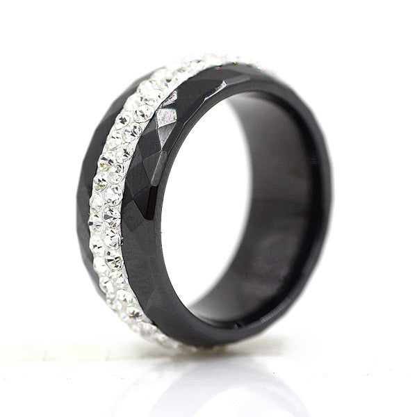 High Qulity Black And White Simple Style Comly Crystal Ceramic Rings for Women