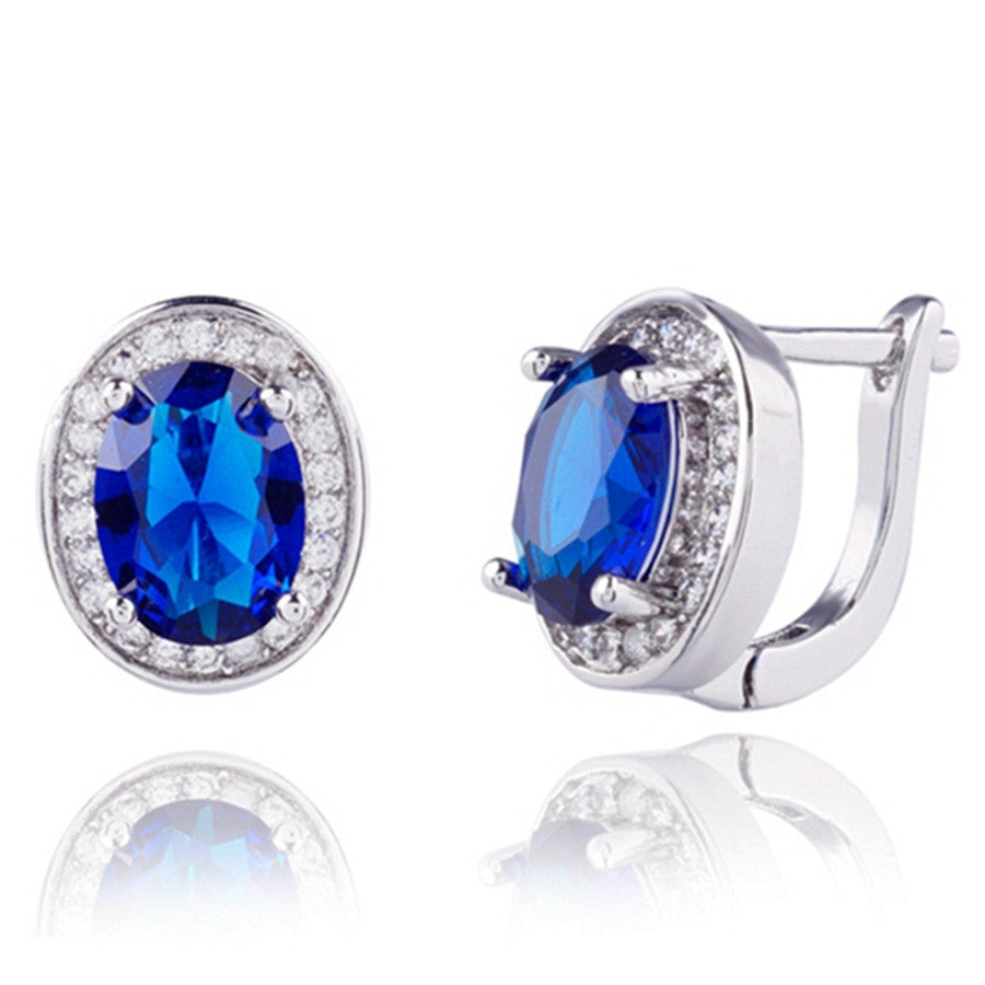 High quality Real platinum Filled Blue AAA+ Cubic Zirconia Street fashion shoot Hoop Earrings dangler For Woman