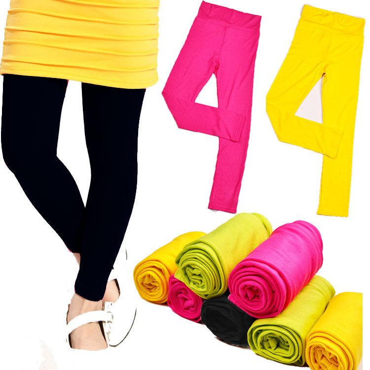 High quality Spring & autumn kids leggings for girls candy colors Children stretch baby casual cotton pants