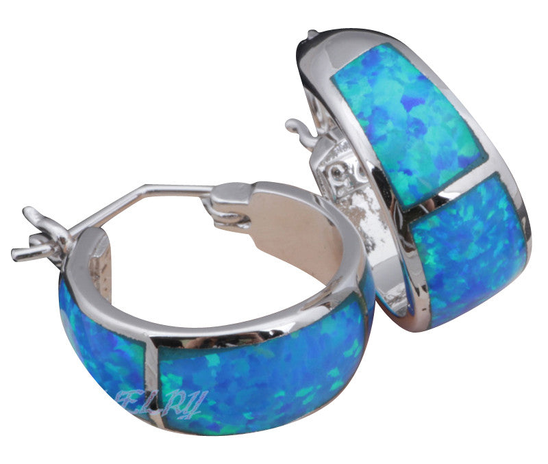 High Quality Blue Fire Opal Silver Stamped Hoop Earrings Fashion Jewelry Opal Jewelry Gifts