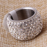 High Quality Classic Platinum Plated Six Row Crystal Jewelry Wedding Ring