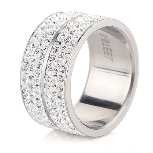 High Quality Classic Stainless Steel 6 Row Crystal Jewelry Wedding Ring