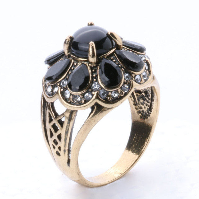 High Quality Fashion Party Ring For Women Black Green Turquoise Flower Type Vintage Ring