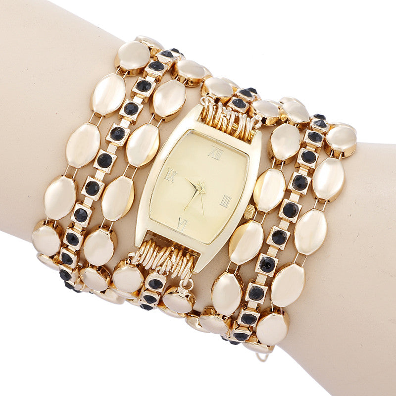 High Quality New Luxury Women Casual Watch Quartz gold Wristwatch Multilayer alloy strap Rhinestone Dress Watch clock hours