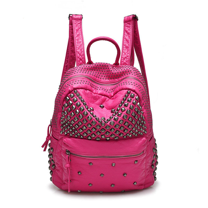 Women Backpacks Washed Leather Backpacks Lady Girls Travel Women Bags Rivet Backpacks Student School Bag