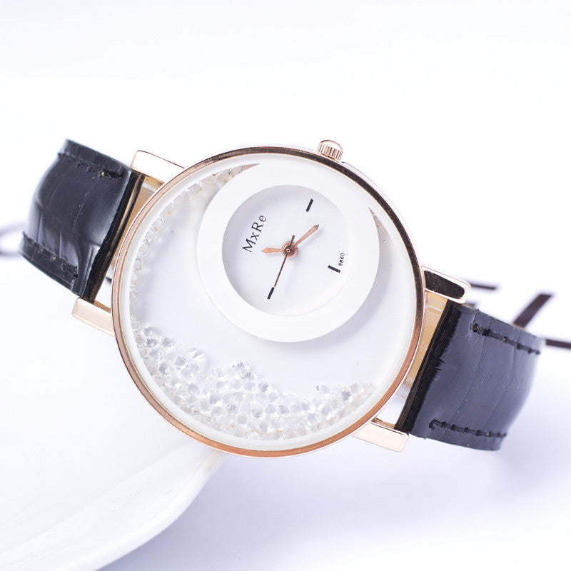 High quality New Fashion Trendy Casual Watch Moving Beads Crystal Quartz Women Dress Watch PU Leather ladies Wristwatch