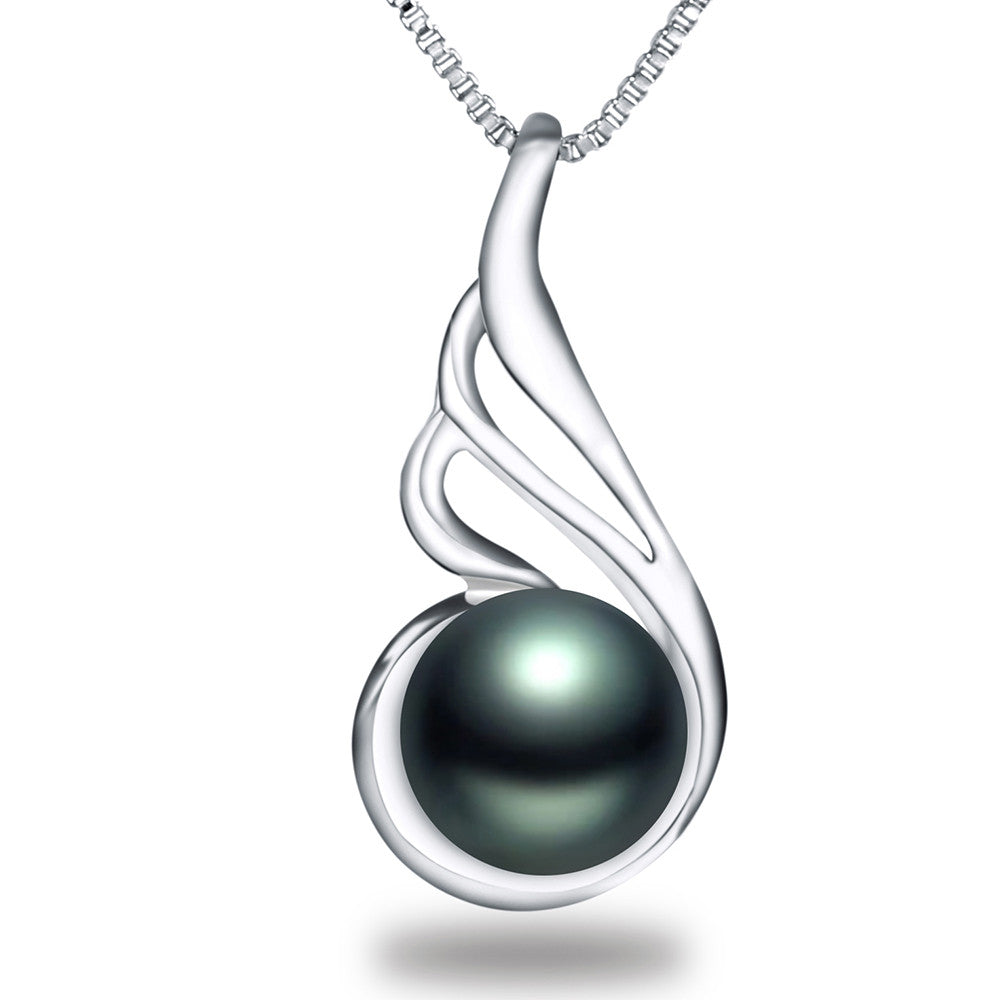 High quality black pearl jewelry Hot selling 18k white gold plated pendant necklace 45cm chain