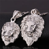 Hip Hop Big Lion Head Pendant & Chain For Men Jewelry Wholesale Platinum/Yellow Gold Plated Vintage Kpop Statement Necklace