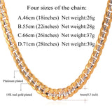 Hiphop Yellow Gold Plated Two Tone Chains For Men Fashion Jewelry 18'' 22'' 26'' 6MM Kpop Choker/Long Cuban Link Necklace