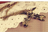 Hot-Europe And America Retro Skull Guitar Instrument Long Necklace Sweater Chain
