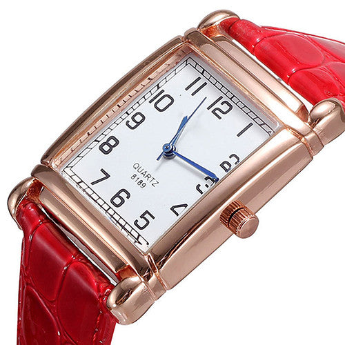 Hot Fashion Men Women Leather Band Square Dial Quartz Analog Wrist Watch