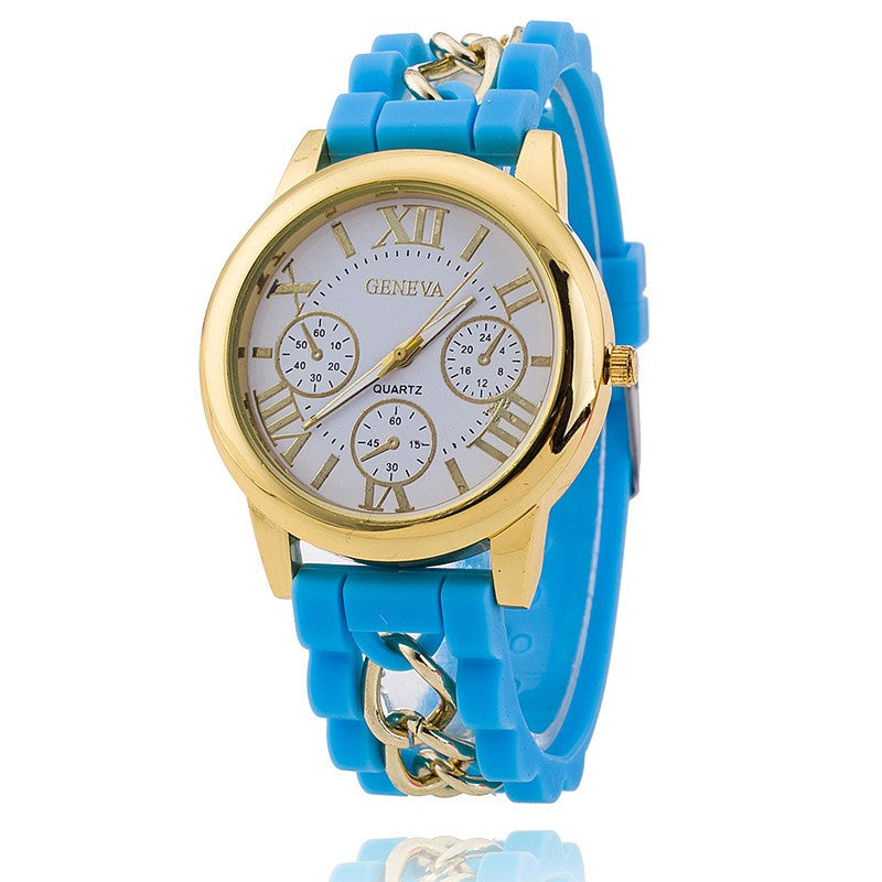Hot Fashion Silicone Geneva Watches Fashion Women Chain Watch Ladies Dress Wrist Watches Relogio Feminino