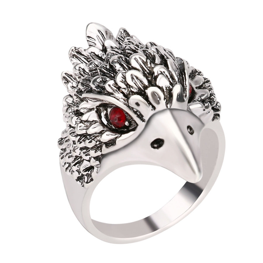Hot Punk Animal Ring New Fashion Eagle Head Plating Silver Vintage Jewelry Inlay Black Crystal Rings For Man