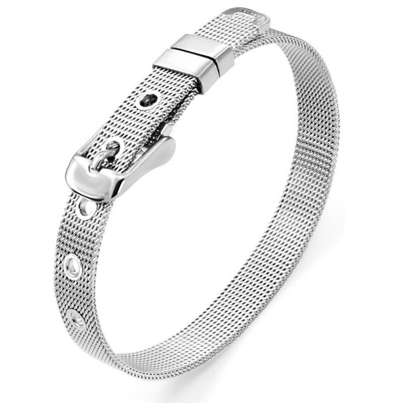 Hot Sale!! 8mm/ 10mm Stainless Steel Wristband Bracelet Fashion Accessory Fit for Slide Letters Charms High quality
