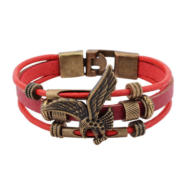 Hot Sale European Style Vintage Eagle Rope Bracelets 100% Genuine Leather Bracelet Bangle For WomenFashion Friendship Gift