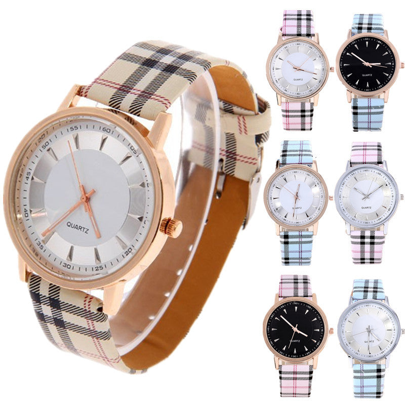 Hot Sale Fashion Gold Watch Plaid Leather Quartz Watch Women Watches Clock Ladies Wrist Watches