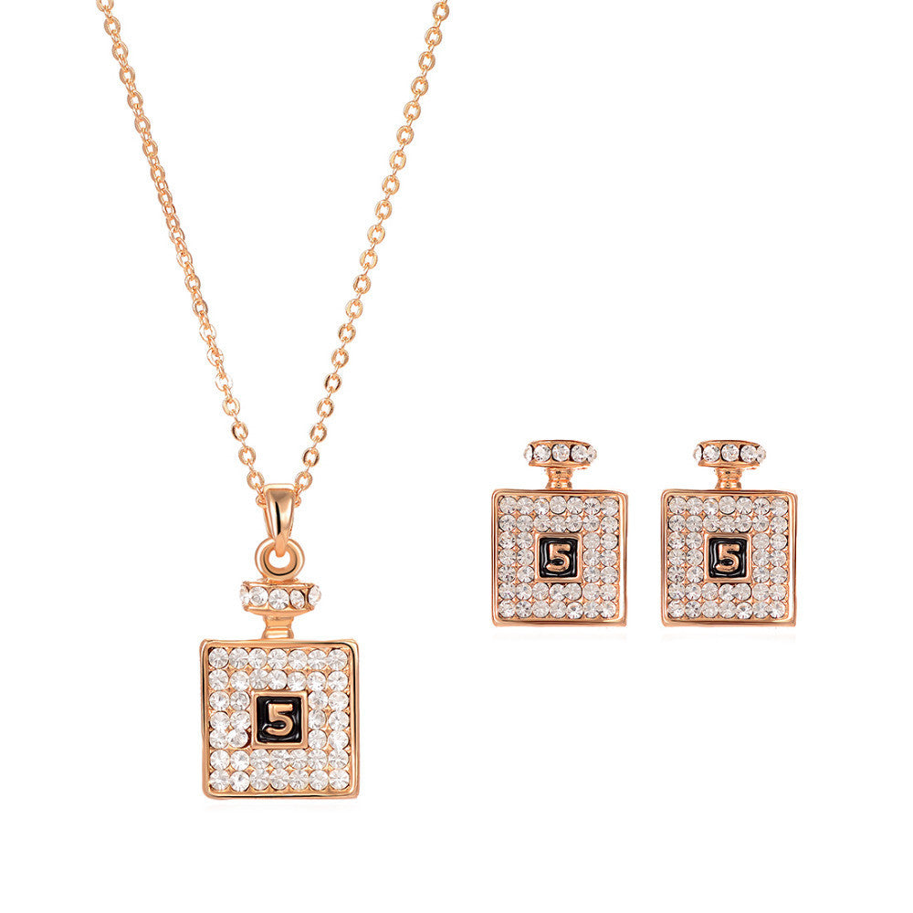 Hot Sale Jewelry Set Gold Plated Austrian Crystal Pendant Necklace Drop Earrings For Women Jewelry Wedding Bridal Jewelry Sets
