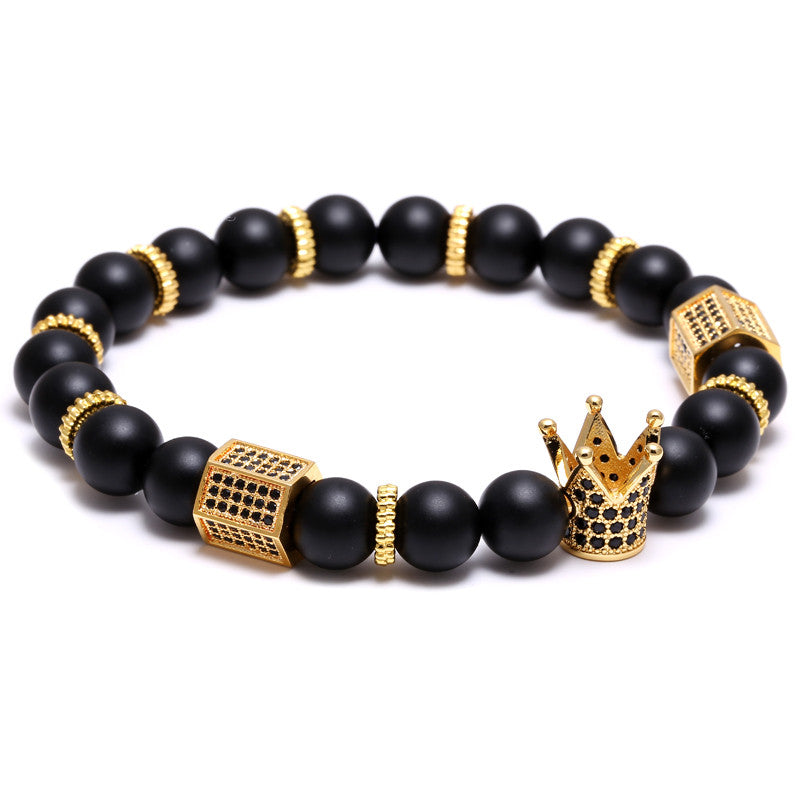 Hot Sale Micro Pave Black CZ Zirconia Gold Plated King Crown Charm ATOLYEWOLF Bracelet Men Dull Polish Matte Stone Bead Bracelet
