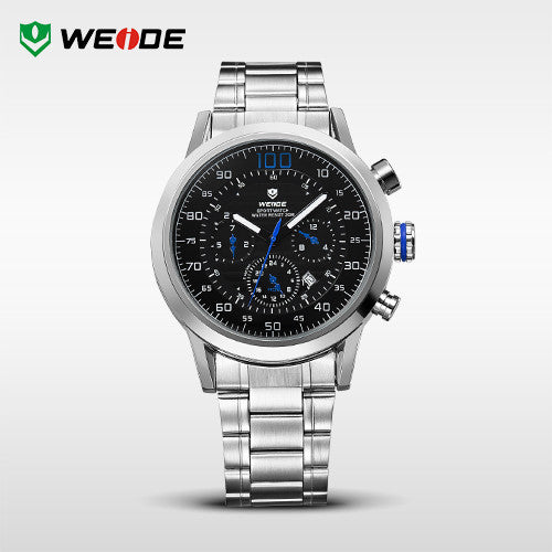 WEIDE Original Military Watches Waterproofed Men Full Steel Luxury Brand Quartz Watch Sports Watches