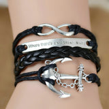 Hot Sale Women Vintage Anchors Rudder Rectangle Cross Leather Bracelet Multilayer Bracelets Hunger Games Charm Bracelet