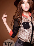 Hot Sale shirt women clothing 2015 New Fashion women blouse Chiffon Blouse Long Sleeve pocket Leopard patchwork shirt