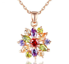18K Rose Gold Plated Necklaces Pendants with Multi Color AAA Cubic Zircon For Women Christmas Gift