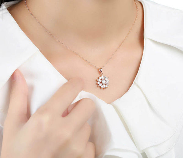 18k Rose Gold Plated Necklaces Pendants With Multi Color