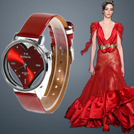 Hot Sell Vogue Watch Exquisite Peach Heart Design Casual Leather WristWatch Quartz Women Watch.Red&White&black Female Clock