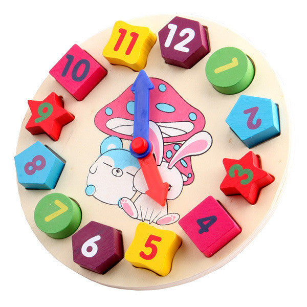 Wooden toy Digital Geometry Clock Children's educational toy building blocks